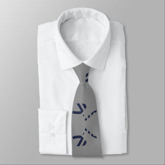 Grey and Navy Blue Clean Lines Tie