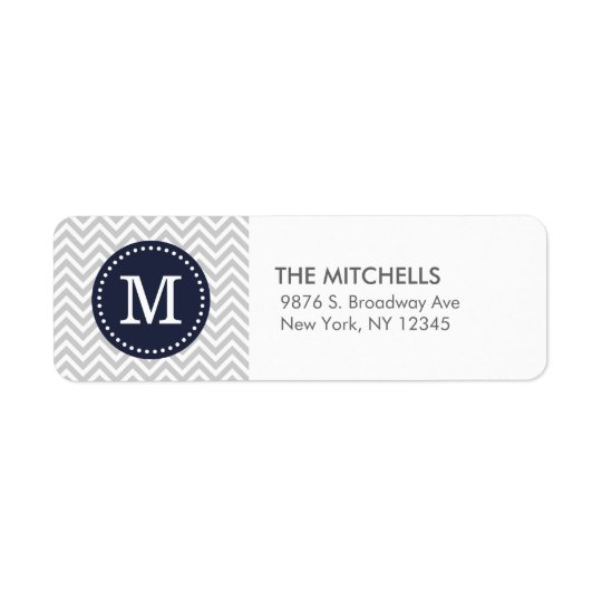 Grey and Navy Blue Modern Chevron Custom Monogram Return Address Label