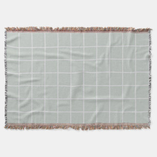 Grey and Off-White Squares pattern Throw Blanket
