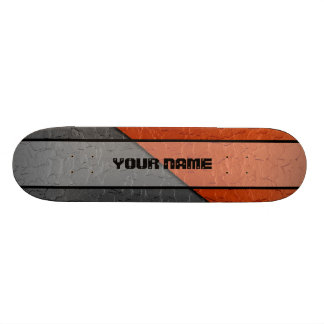 Grey and Orange Shiny Stainless Steel Metal Skate Boards