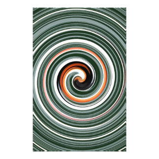 Grey and orange spiral pattern stationery design