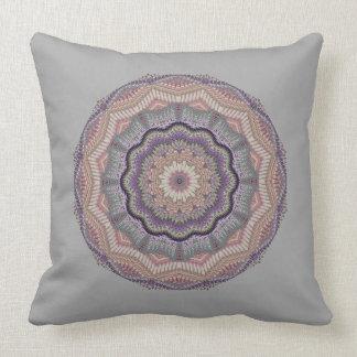 Grey And Peach Knit-like Round Cushion