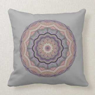 Grey And Peach Knit-like Round Throw Pillow