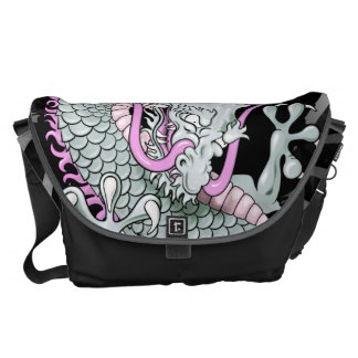 Grey and Pink Japanese Dragon Tattoo Wind Bars Commuter Bags