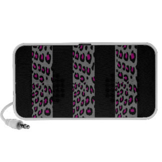 Grey and Pink Leopard Stripes PC Speakers