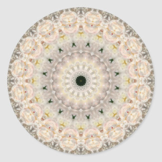 Grey and Pink Peony Mandala Classic Round Sticker