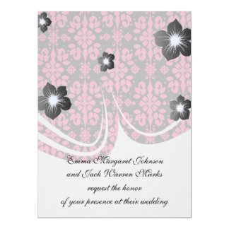 grey and pink shabby damask funky invitations