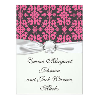 grey and pink shabby damask funky personalized invitation