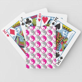 Grey and pink yin yang pattern bicycle playing cards
