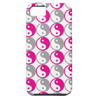 Grey and pink yin yang pattern case for the iPhone 5