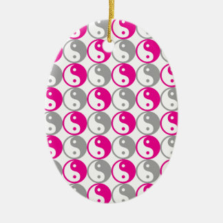Grey and pink yin yang pattern ceramic ornament