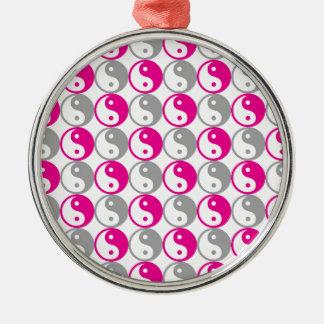 Grey and pink yin yang pattern metal ornament