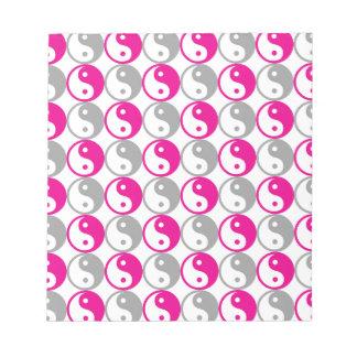 Grey and pink yin yang pattern notepad