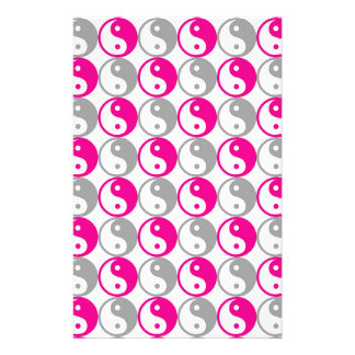 Grey and pink yin yang pattern stationery
