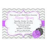 Grey and Purple Lilac Chevron Invitation
