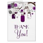 Grey and Purple Mason Jars Wedding Thank You Card