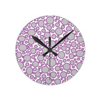 Grey and Purple Polka Dots Clock