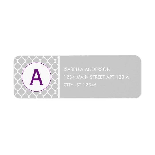 Grey and Purple Quatrefoil Monogram Return Address Label