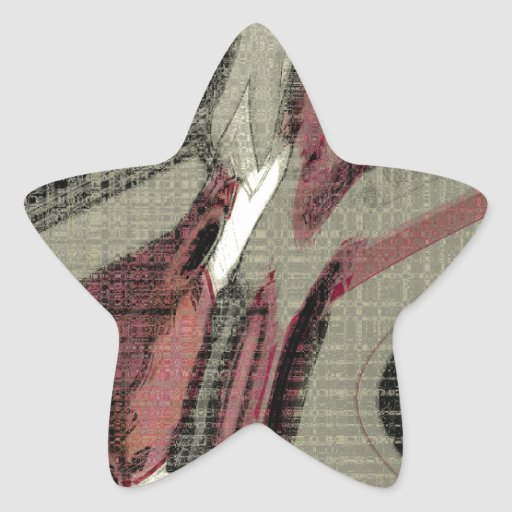 Grey and Red Abstract Art Star Sticker