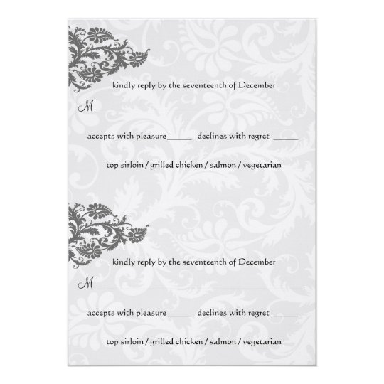 Grey and Red Damask Swirl RSVP Postcard