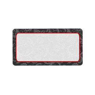 Grey and Red Floral Damask Return Address Label