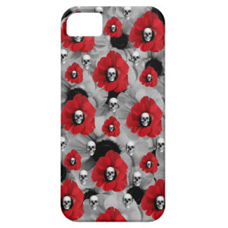 Grey and red skulls with poppies pattern iPhone 5 cover