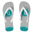 Grey and Teal Chevrons with Custom Monogram Thongs
