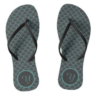 Grey and Teal Mermaid Scale Pattern Flip Flops