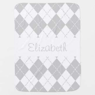 Grey and White Argyle Baby Name Blanket Receiving Blanket