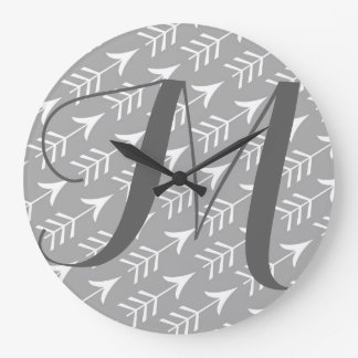 Grey and White Arrows with Monogram Large Clock