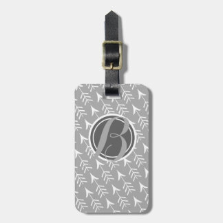 Grey and White Arrows with Monogram Luggage Tag