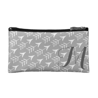 Grey and White Arrows with Monogram Makeup Bag