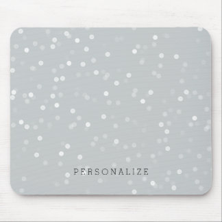 Grey and White Bokeh Confetti Mouse Pad