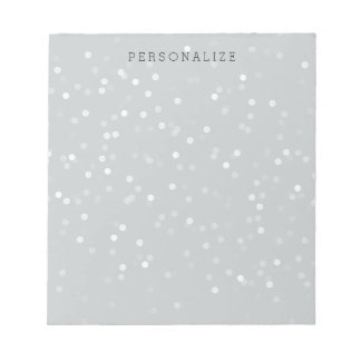 Grey and White Bokeh Confetti Notepad