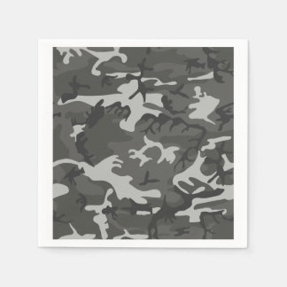 Grey and White Camouflage II Paper Serviettes