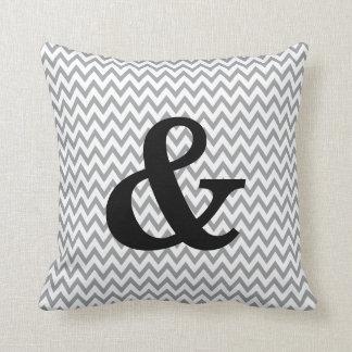 Grey And White Chevron Ampersand Throw Pillow