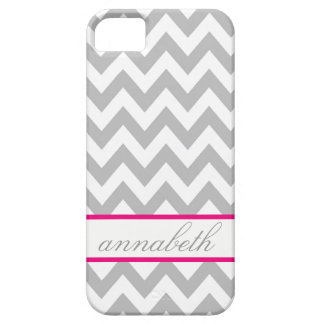 Grey and White Chevron Hot Pink Monogram Case For The iPhone 5