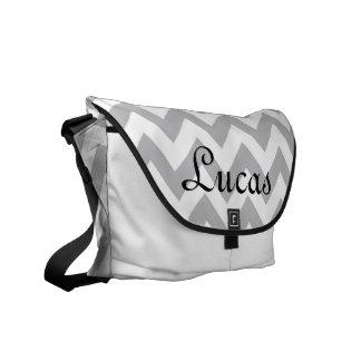 Grey and White Chevron Modern Diaper Bag Courier Bag