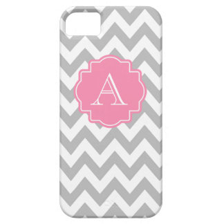 Grey and White Chevron Pink Monogram iPhone 5 Cover