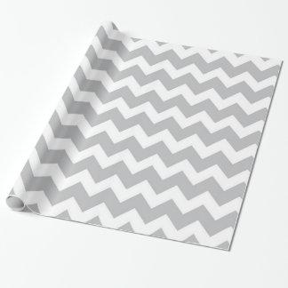 Grey and White Chevron Stripe Wrapping Paper