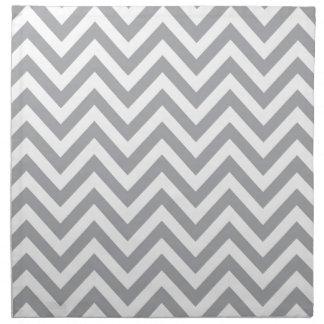 Grey and White Chevron  Zigzag Pattern Printed Napkin
