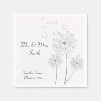 Grey and White Dandelion Wedding Napkins Disposable Serviette