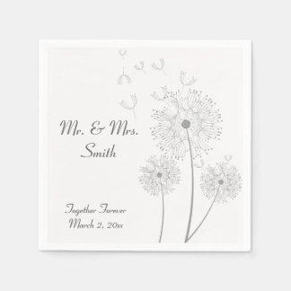 Grey and White Dandelion Wedding Napkins Paper Napkin