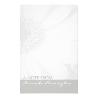 Grey and White Floral Notepad Customized Stationery