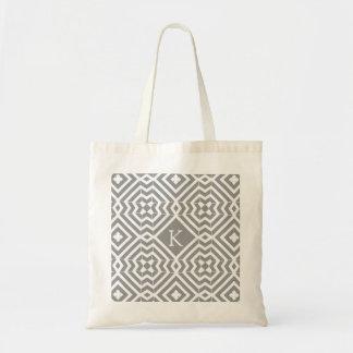 Grey and White Geometric Monogram Tote Budget Tote Bag