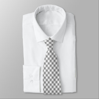 Grey And White Gingham Tie