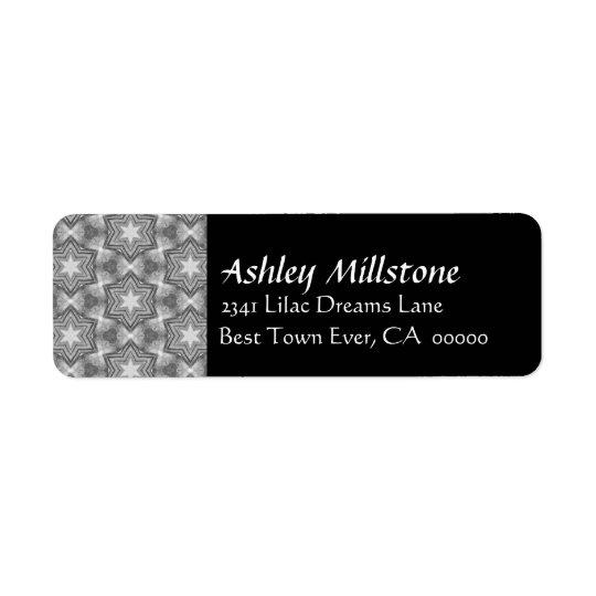 Grey and White Grunge Stars Black Address Label