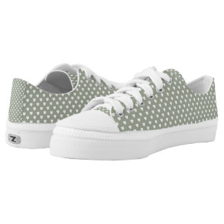 Grey And White Hearts Pattern Low Tops Shoes