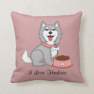 Grey and White Husky (Girl) Cushion