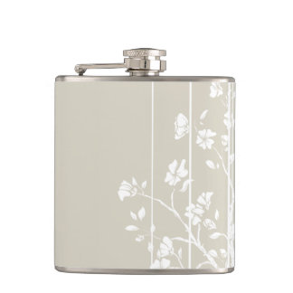 Grey and White Japanese Floral Flask